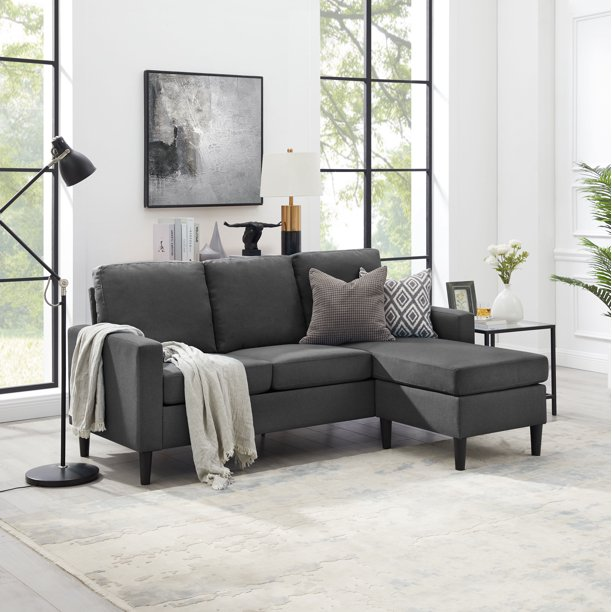 Mainstays Apartment Reversible Sectional, Multiple Colors