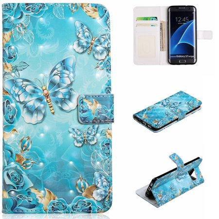 Galaxy S7 Edge Case, Galaxy S7 Edge Case, Allytech 3D Emboss PU Leather Flip Protective Wallet Stand Cover & Credit Card Slots Pocket for Samsung Galaxy S7 Edge (5.5