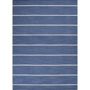 8' x 10' Sapphire Blue and White Striped Cape Cod Flat Weave Area Throw Rug