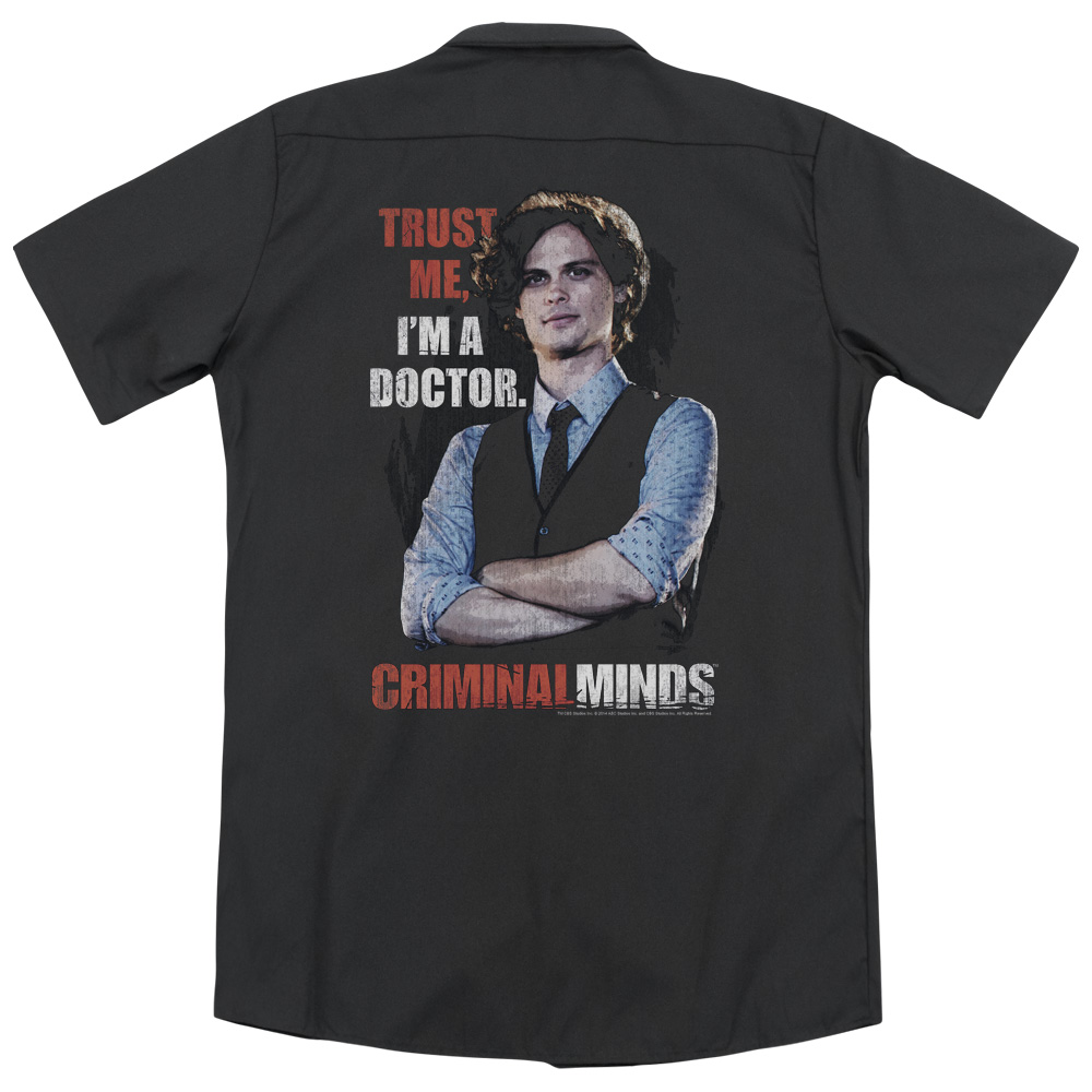 Criminal Minds Trust Me (Back Print) Mens Work Shirt