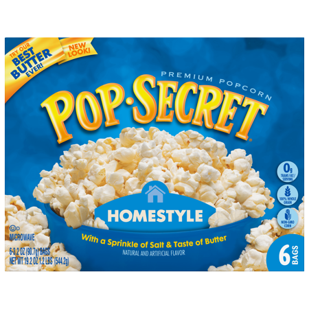 (3 Pack) Pop Secret Microwave Popcorn, Homestyle, 3.2 Oz, 6