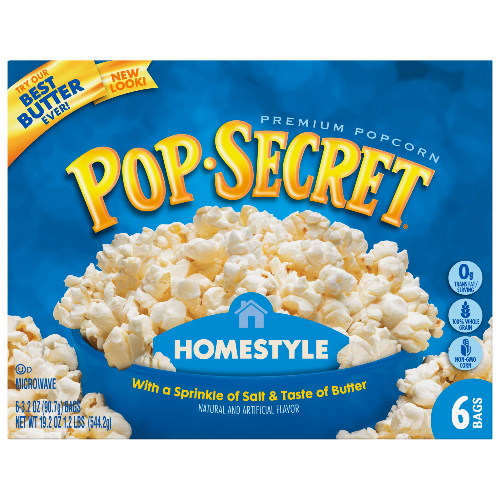 (3 Pack) Pop Secret Microwave Popcorn, Homestyle, 3.2 Oz, 6 Ct