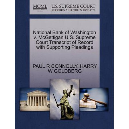 National Bank Of Washington V  Mcgettigan U S  Supreme Court Transcript Of Record With Supporting Pleadings