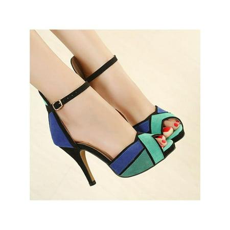 bc719447e Women Ladies Shoes High Heels Stilettos Platform Peep Toe Ankle Strap OL  Sandals Image 10 of