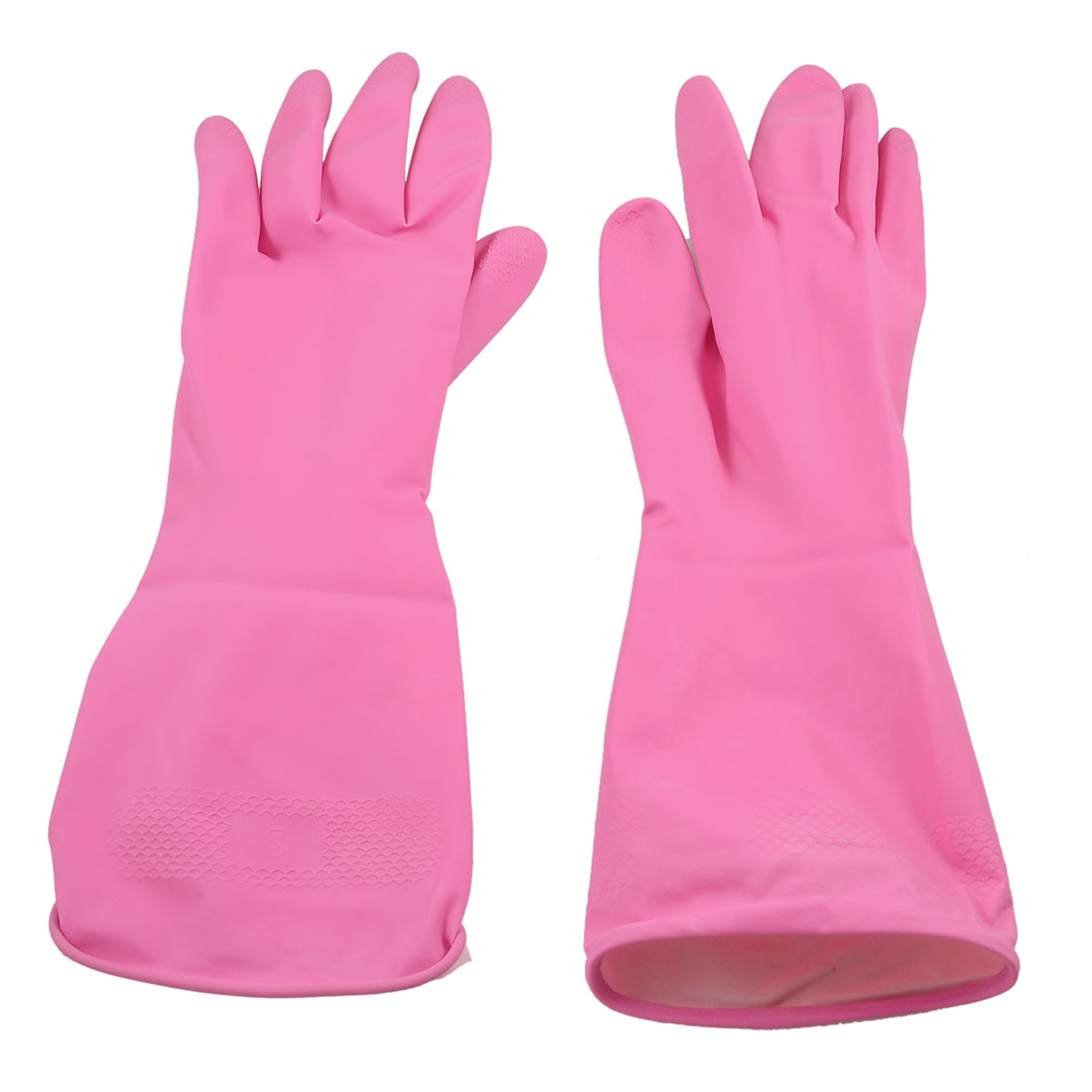 Unique Bargains Household Home Assistant Antislip Clean Wash Latex Gloves 2 Psc