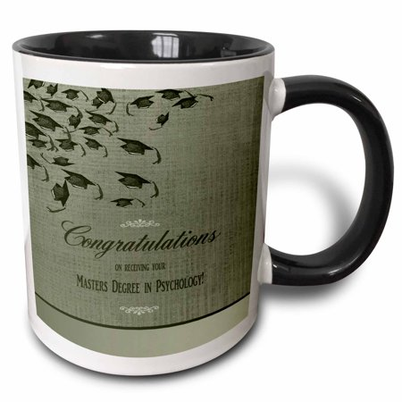 3dRose Masters Degree in Psychology Graduation Congratulations, Caps on Green - Two Tone Black Mug, - Graduation Cap Lights