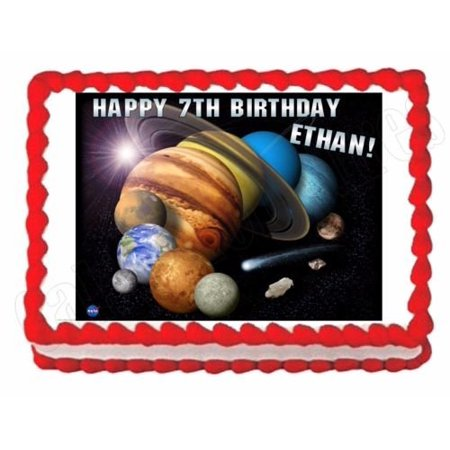 Outer Space Decorations (Solar System -Planets -Outer Space edible image party cake topper)