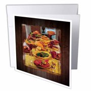 3dRose Thanksgiving Feast, Greeting Cards, 6 x 6 inches, set of 6