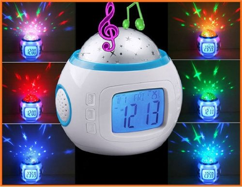 Colorful Novelty Starry Sky Digital LED Projector Music with Backlight Calendar and Thermometer Desk & Shelf Alarm Clock... by Dsk Clocks