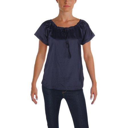 Lauren Ralph Lauren Womens Bieling Gathered Short Sleeve Peasant - Gathered Sleeve Top