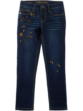Vigoss Big Girls Celesti Star Denim Ankle Jeans 16W Short