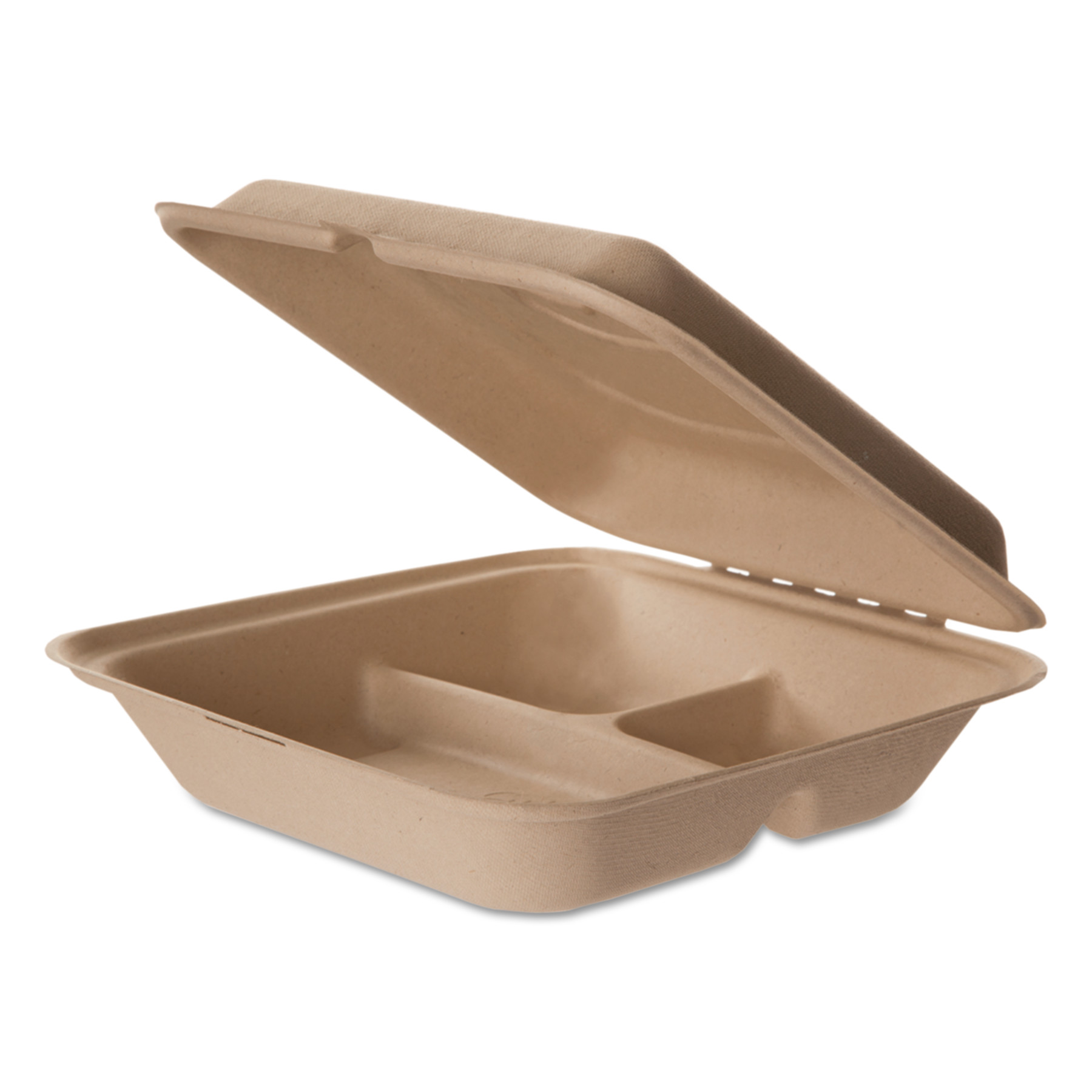 Eco-Products Wheat Straw Hinged Clamshell Containers, 8 x 8 x 3, 3-Comp, 200/Carton