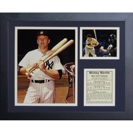 Issue Mickey Mantle - Mickey Mantle Bats Framed Photo Collage, 11x14, by Legends Never Die