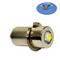 HQRP High Power Upgrade Bulb 3W LED 100LM 7-30V for Ryobi Ridgid 7811502 / Lowe Kobalt 18v Ni-Cad Flashlight plus HQRP Coaster