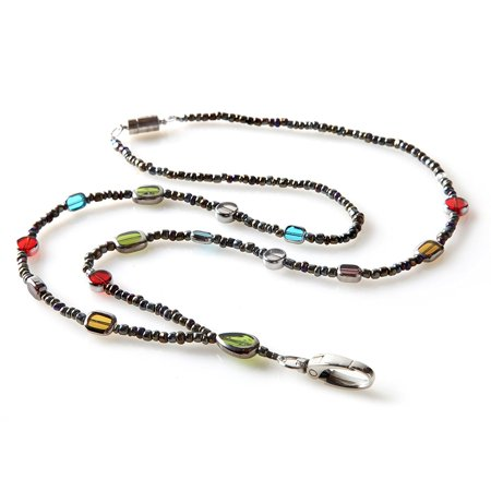 Stained Glass Beaded ID Badge Lanyard Necklace For Women with Breakaway Safety Clasp