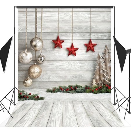 HelloDecor Polyster 5x7ft Christmas Wood Board Theme Photography Backdrop Photo Backdrops Background Studio Props