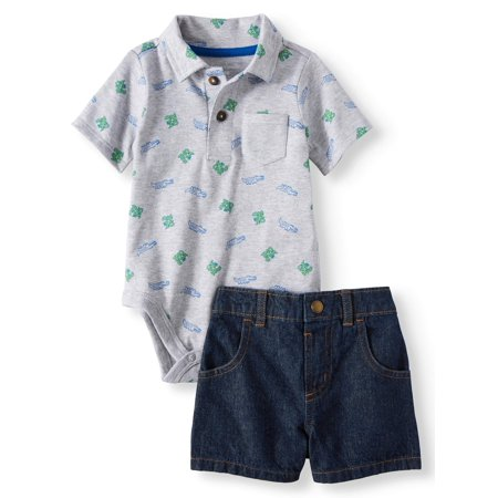 Baby Boys' Print Polo Bodysuit and Canvas or Denim Shorts, 2-Piece Outfit Set - Baby Boy Police Outfit