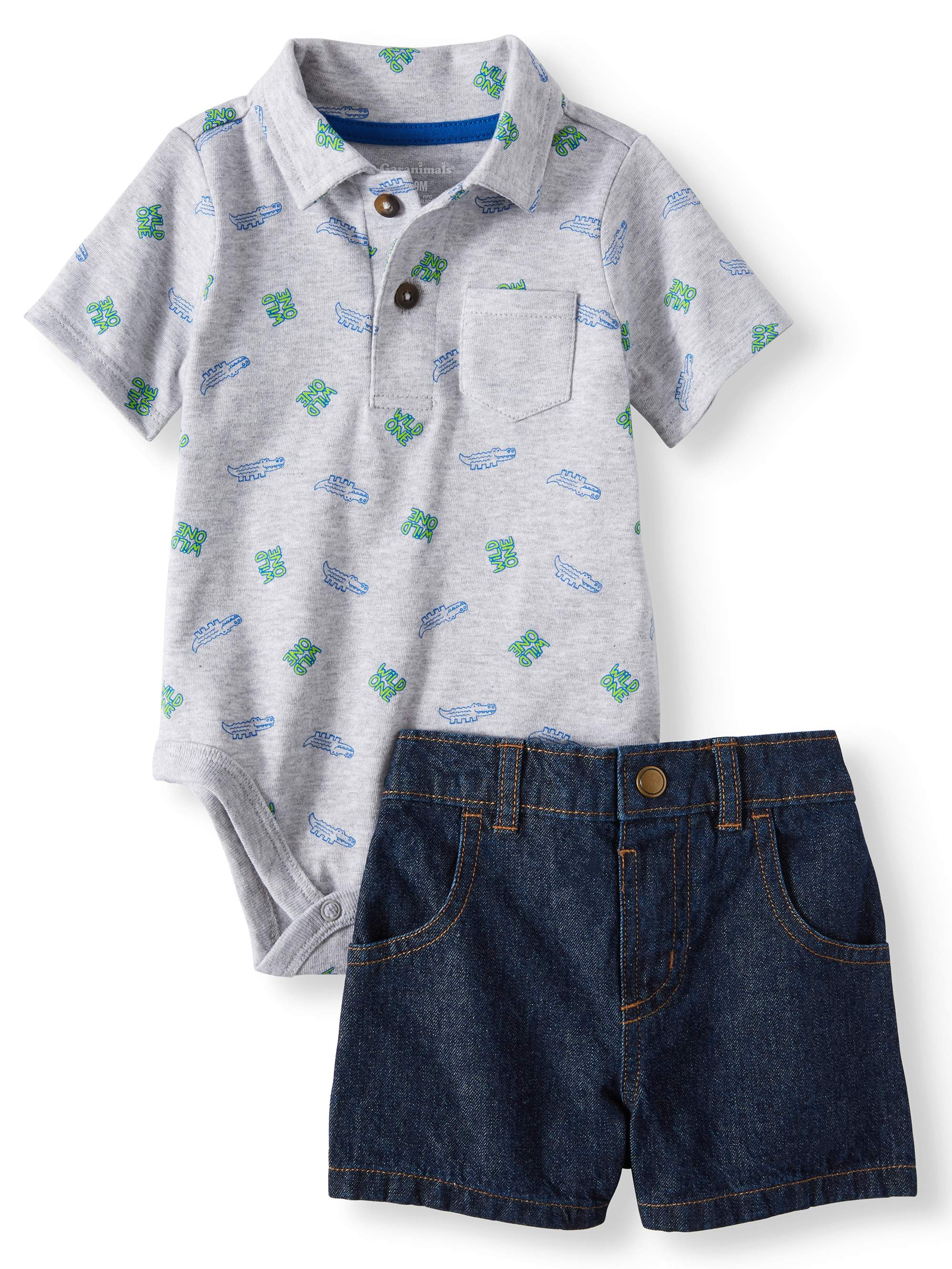 Baby Boys' Print Polo Bodysuit and Canvas or Denim Shorts, 2-Piece Outfit Set
