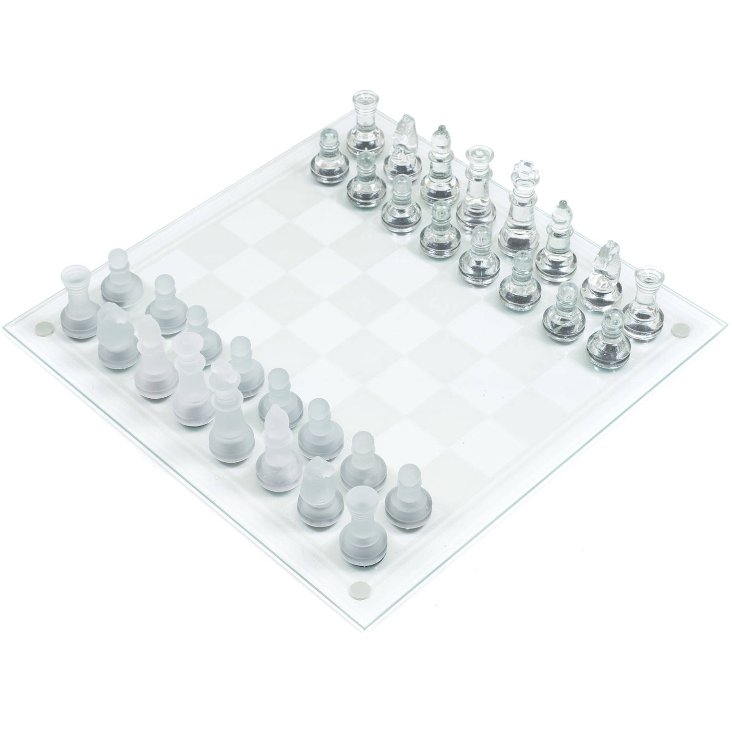 Elegant Glass Chess and Checker Board Set Clear and Frosted