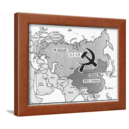 Great Decisions Map of Communist Countries Framed Print Wall Art ...