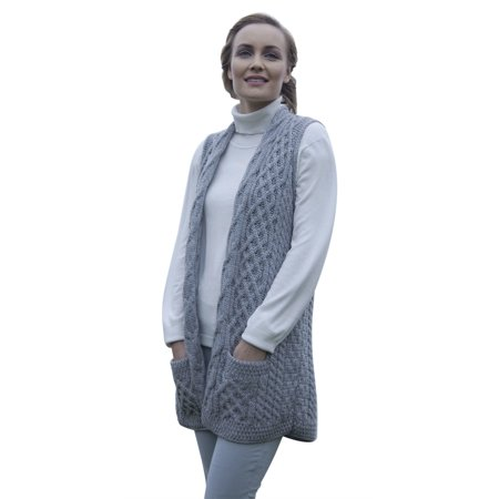 Ladies Merino Wool Celtic Gilet Cardigan