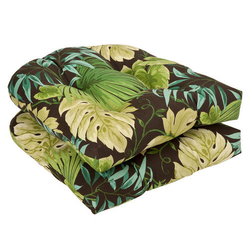 Pillow Perfect Wicker Chair Outdoor Seat Cushions - 19L x 19W x 5H in. - Set of 2