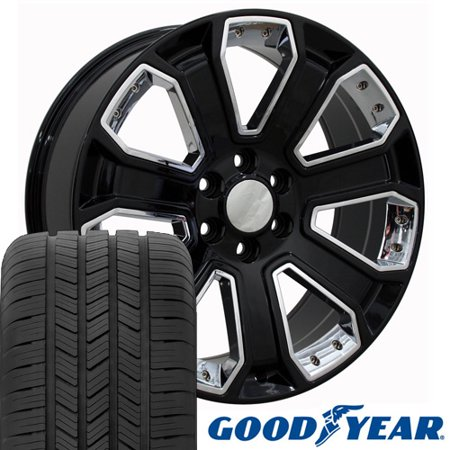 OE Wheels 20 Inch Fit Chevy Silverado Tahoe GMC Sierra Yukon Cadillac Escalade CV93 Black Chrome 20x8.5 Rims Goodyear Eagle All Season Tires Lugs TPMS Hollander 5661