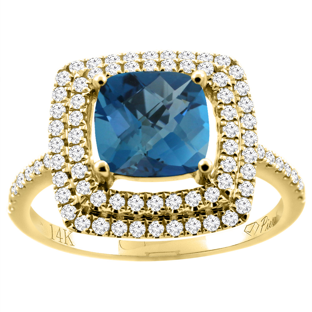 14K Yellow Gold Natural London Blue Topaz Ring Cushion Cut 7x7 mm Double Halo Diamond Accents, size 5.5 by Gabriella Gold