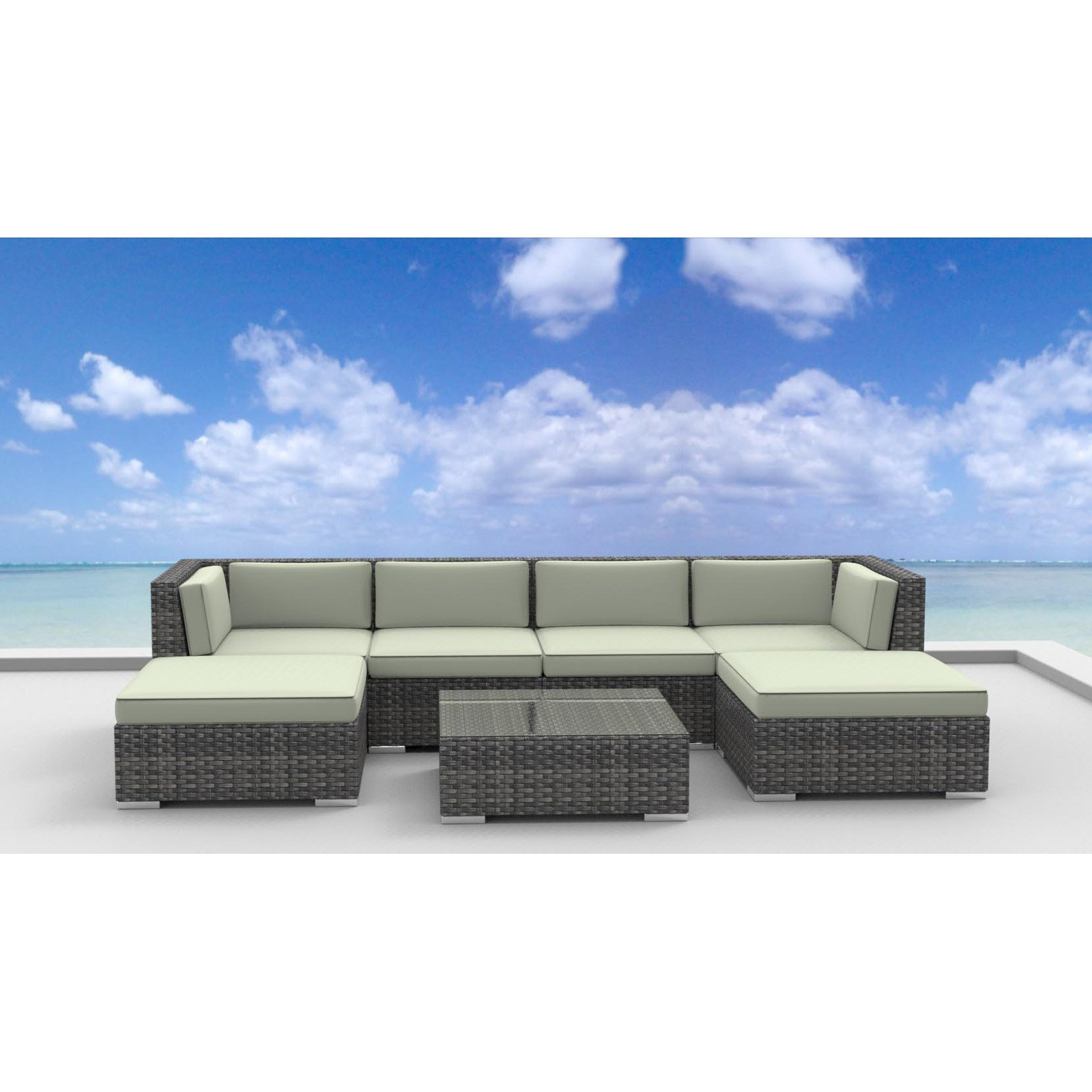 Urban Furnishing Maui 7 Piece Outdoor Wicker Patio Furniture Set   Walmart .com