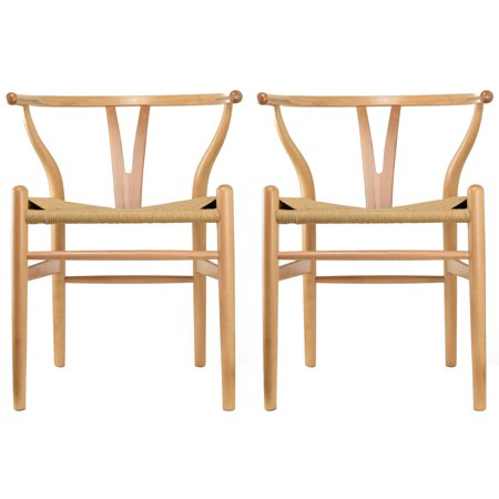 Fantastic 2Xhome Set Of 2 Natural Wishbone Wood Armchair With Arms Dailytribune Chair Design For Home Dailytribuneorg