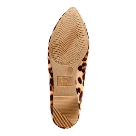 Time and Tru Women's Animal Print Feather Flats, Available in Wide Width
