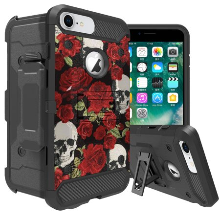 - iPhone 6 Rugged Holster & Kickstand Case by MINITURTLE [MAX GUARD Case for iPhone 6s w/ Cool Designs] Bonus Rotating Holster Combo Case for iPhone 6s - Red Rose Calavera