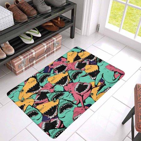 POP Angry Shark Pattern Doormat Entrance Mat Floor Rug Indoor Door Mats Home Decor 30x18 Inches - image 2 of 3