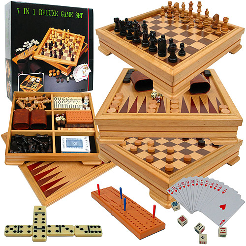 Deluxe 7-in-1 Game Set with Chess, Backgammon and More