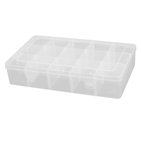 Household Plastic Detachable 15 Slots Sundries Storage Container Box Case Clear ()