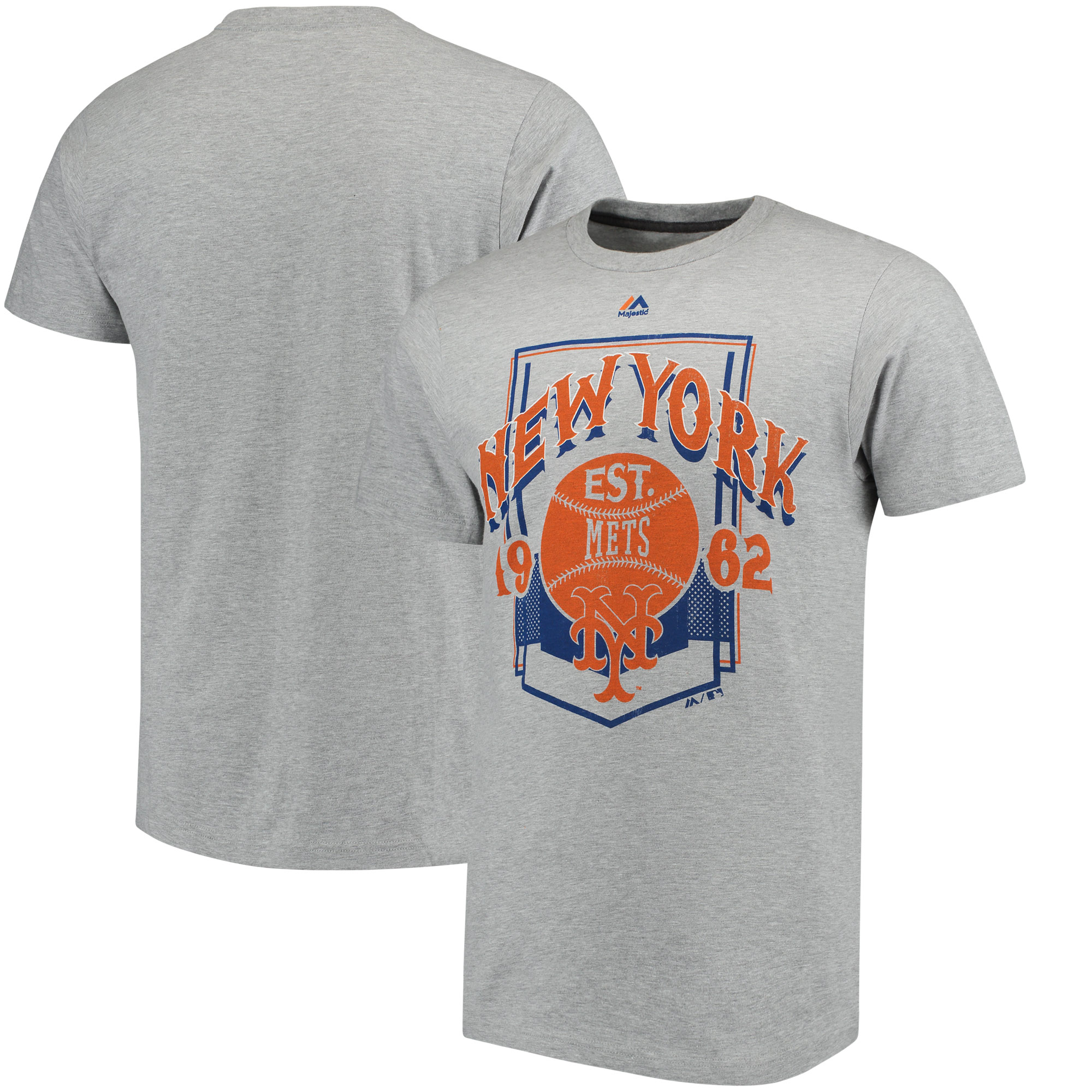 New York Mets Majestic Vintage Style T-Shirt - Gray