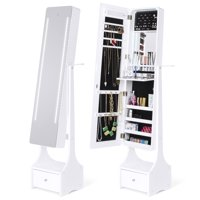 Best Choice Products Full Length Standing LED Mirrored Jewelry Makeup Storage Cabinet Armoire w/ Interior & Exterior Lights, Touchscreen, Shelf, Velvet Lining, 4 Compartments, Drawer, White