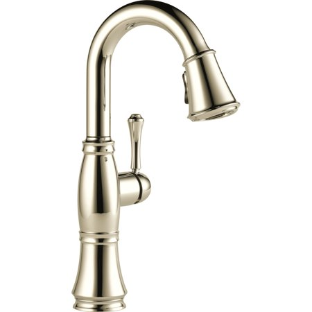 Pn Single Handle - Delta Cassidy Single Handle Pull-Down Bar / Prep Faucet, Polished Nickel