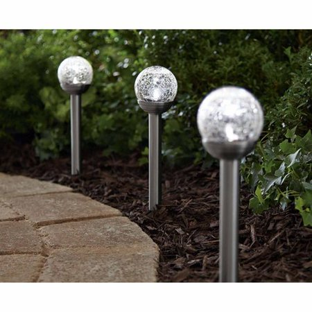 Mainstays Le Ball Solar Ed Landscape Light Stainless Steel Finish
