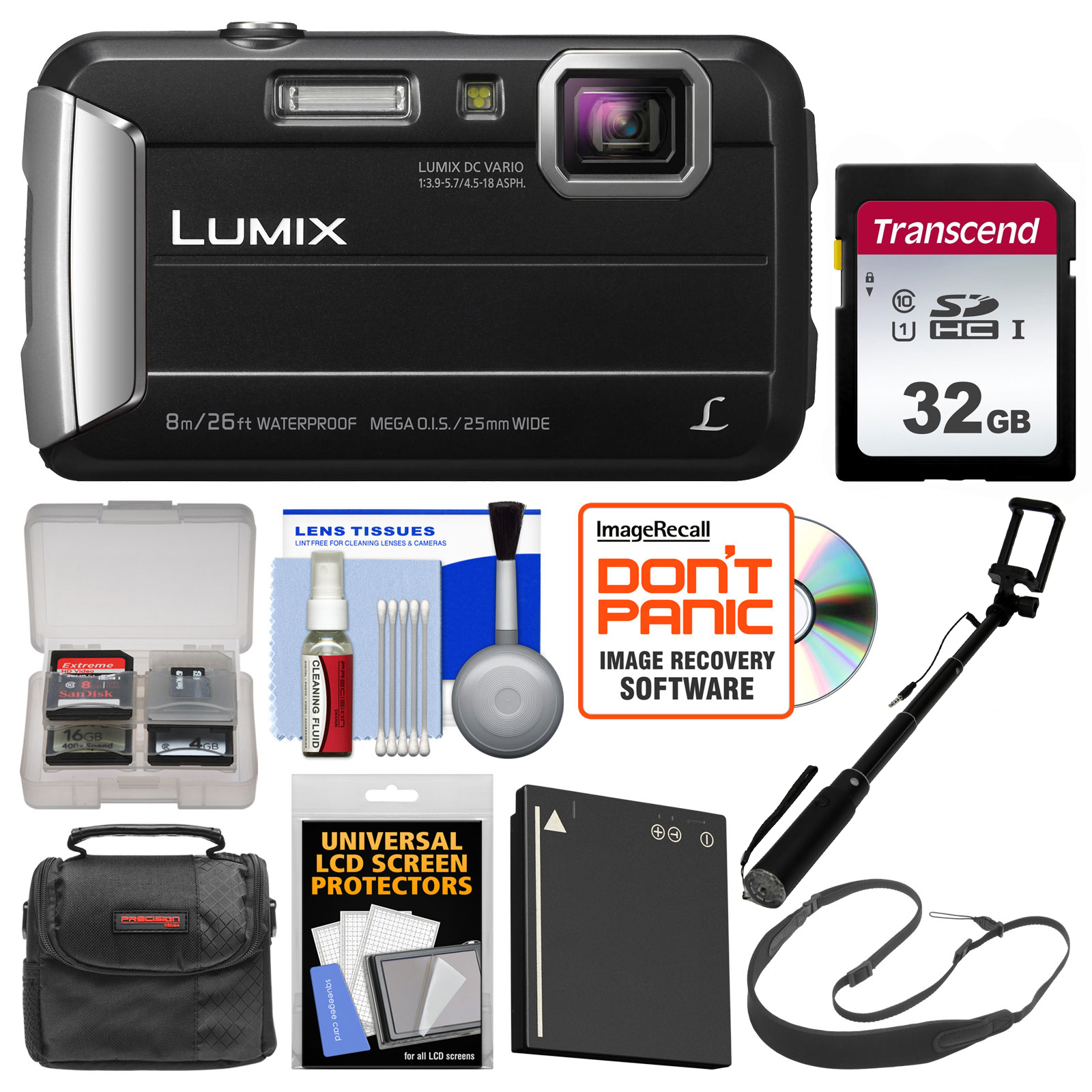 Panasonic Lumix DMC-TS30 Tough Shock + Waterproof Digital Camera (Red) with 32GB Card + Case + Battery + Selfie Stick Monopod + Sling Strap Kit