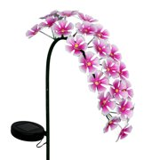 Exhart Solar Metal Hanging Flower Garden Stake in Pink with Twenty Four LED Lights, 11 by 28 inches