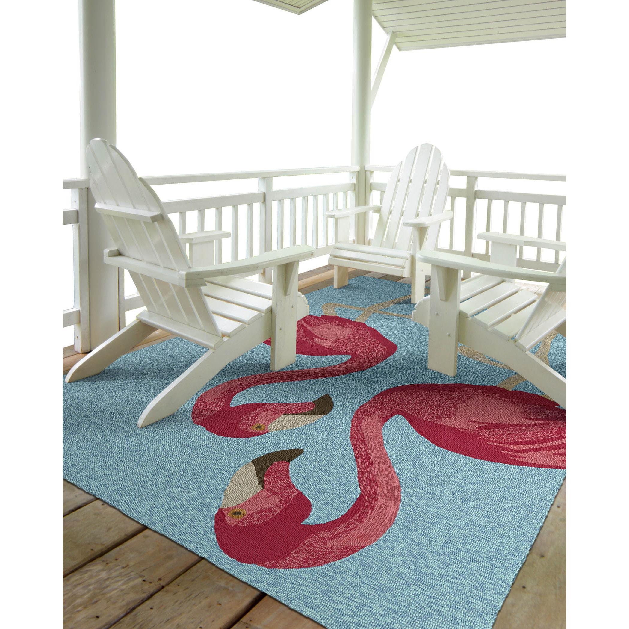 Kaleen Rugs Indoor Outdoor Beachcomber Flamingo Blue Rug 3 X 5