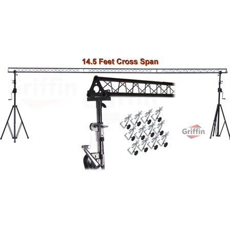 Crank Up Triangle Light Truss System by Griffin|DJ Trussing Stand for Light Cans & Speakers|Pro Audio Stage Lighting Hardware Package|Equipment Mount|Portable Gear Holder for Parties, Music, Live Gigs (Crank Truss System)