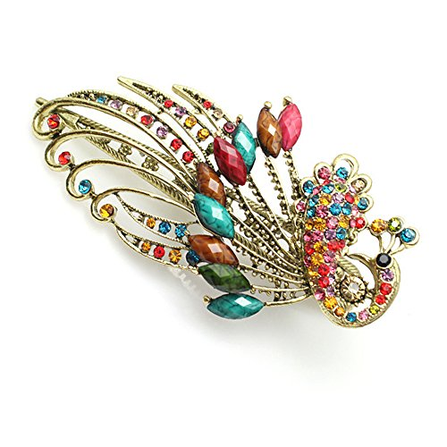 BEYLEG multi-colored Womens Vintage Crystal Peacock Hair Clip Head Wear - image 1 de 1