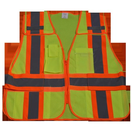 Petra Roc LVM2-PSV-SUPER Public Safety Vest 207-2006 Lime Mesh with Orange Binding 5-Point Breakaway with Expandable Side Closures 5 Pockets, Super 6X & (Breakaway Spear)