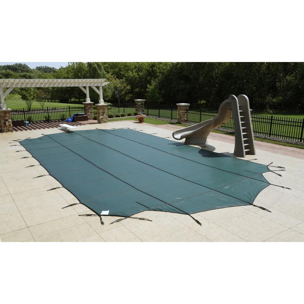 Blue 12-Year Mesh Safety Cover For 20' x 40' Rect Pool With Center End Step