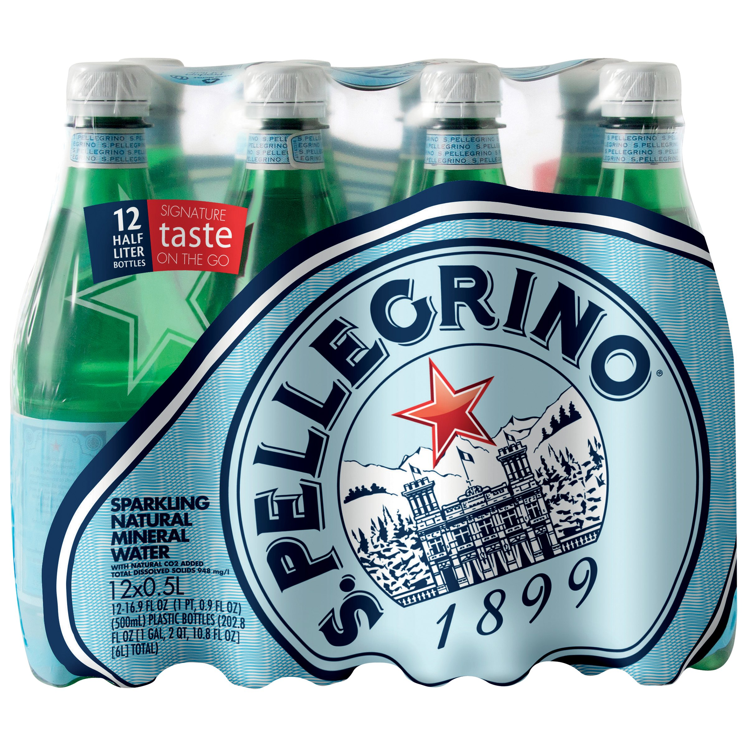 S.Pellegrino Sparkling Natural Mineral Water, 16.9-ounce plastic bottles (Pack of 12)
