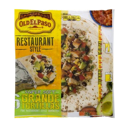 Old El Paso Restaurant Style Super Soft Grande Tortillas   6 Ct21 5 Oz