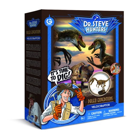 Dr. Steve Hunters - Paleo Expedition Dino Dig Excavation Kit - Velociraptor - 14 pieces - Uncle Milton Scientific Educational - Dino Excavation Kit