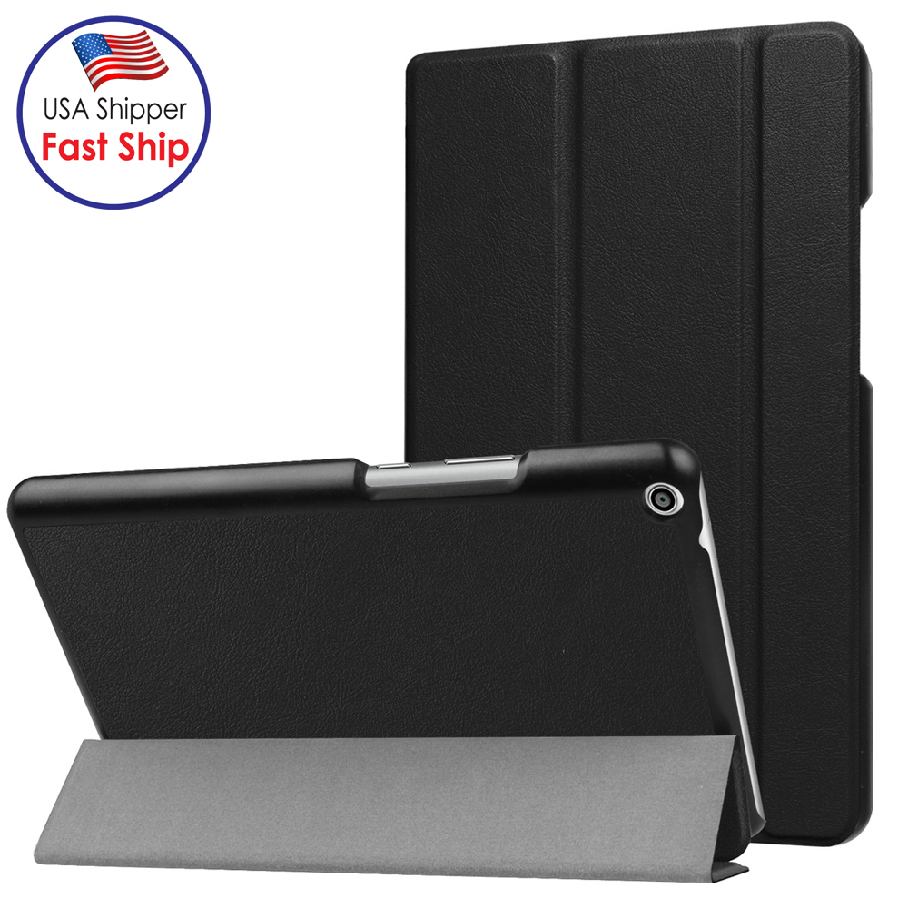 For Huawei MediaPad T3 8.0 AMZER Custer Texture Horizontal Flip Leather Case with 3-folding Holder - Black